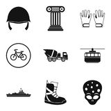 Protective helmet icons set, simple style. Protective helmet icons set. Simple set of 9 protective helmet vector icons for web isolated on white background Stock Photo
