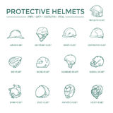 Protective Helmets Icons. Sport, safety, construction and other special helmets Royalty Free Stock Photography