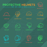 Protective Helmets Icons. Sport, safety, construction and other special helmets Stock Photos