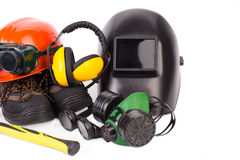 Protective helmets Stock Photo