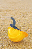 Protective Industrial Safety Helmet. On the ground as Accident at Work Concept Royalty Free Stock Photo