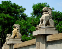 Protective Lions at Martyrs Park. This is a line up of protective lions at Martyrs Park in Guangzhou China. Lions are highly symbolic of protection in China Royalty Free Stock Photo