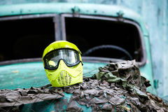 Protective Mask For Paintball Players Lies On Hood Royalty Free Stock Photography