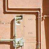 Protective metal box of gas meter in a condominium building Ita Royalty Free Stock Images