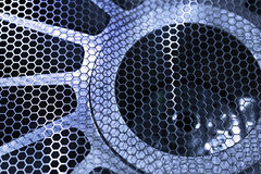 Protective metal mesh industrial fan. Royalty Free Stock Images