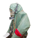 Protective military chemical warfare suit Stock Images
