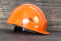 Protective Orange Helmet Stock Photo