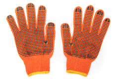 Protective orange mittens Stock Image