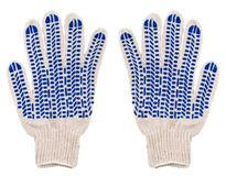 Protective pair gloves with blue spots of rubber isolated on whi Stock Image