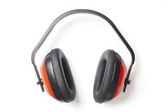 Protective red ear defenders Stock Photo