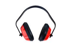 Protective red ear muffs Stock Photos