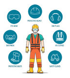 Protective and Safety Equipment. Or ppe vector illustration. Helmet and glasses, gloves and headphones icons for worker job protection vector illustration