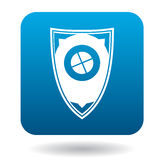Protective shield icon, simple style. Protective shield icon in simple style in blue square. Weapon for combat symbol Royalty Free Stock Image