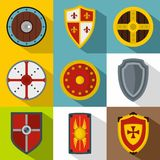 Protective shield icons set, flat style Stock Image