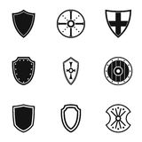 Protective shield icons set, simple style Royalty Free Stock Photography