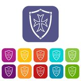Protective shield icons set. Vector illustration in flat style in colors red, blue, green, and other royalty free illustration