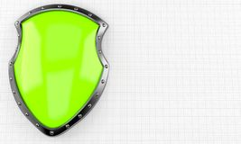 Protective shield. On paper background Royalty Free Stock Images