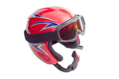 Protective ski helmet and ski goggles Royalty Free Stock Images