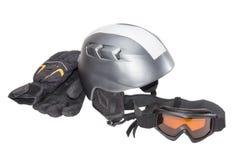 Protective ski helmet, ski goggles and ski glove Royalty Free Stock Photos