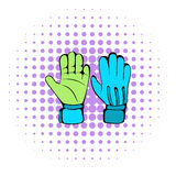 Protective soccer gloves  icon, comics style Stock Image
