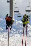 Protective sports equipment on ski poles Stock Images