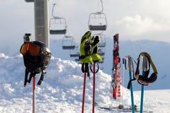Protective sports equipment on ski poles at ski resort Stock Image