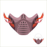 Protective sports mask. Scary Monster mask or maniac with fire. stock illustration