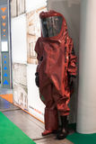 Protective suit at Chem-Med, the Mediterranean chemical event in Milan, Italy Royalty Free Stock Images