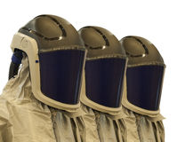 The protective suit with mask. Special suit to protect people from the harmful effects of the environment Stock Images