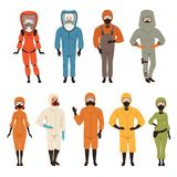 Protective suits set, different protective uniform equipment vector Illustrations isolated on a white background.  Royalty Free Stock Image