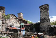 Protective Towers and houses. Svaneti. Georgia. Stock Photography