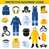 Protective Uniforms Equipment Flat Icons Set. Protective uniform respiratory equipment flat icons collection for medical professionals and construction workers vector illustration