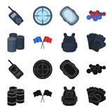 Protective vest, gloves and other equipment. Paintball single icon in black,cartoon style vector symbol stock. Illustration Royalty Free Stock Photos