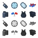 Protective vest, gloves and other equipment. Paintball single icon in cartoon,monochrome style vector symbol stock. Illustration Stock Photo
