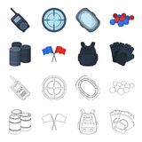 Protective vest, gloves and other equipment. Paintball single icon in cartoon,outline style vector symbol stock. Illustration Stock Photo