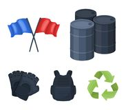 Protective vest, gloves and other equipment. Paintball single icon in cartoon style vector symbol stock illustration web. Protective vest, gloves and other Stock Photos