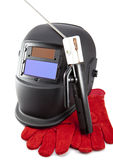 Protective welder mask, electrode and gloves Stock Photography