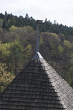 Protective wooden shingle on the roof Stock Image