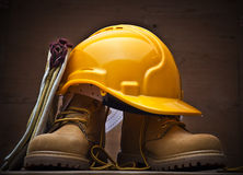 Protective work equipment. Gloves, helmet and boots Royalty Free Stock Photography