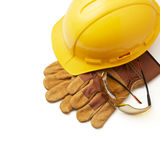 Protective work wears. Various type of safety equipment on white background with copy space royalty free stock images