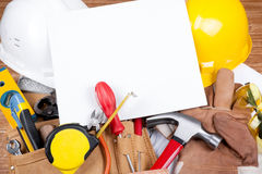 Protective Workwear Copy space concept. Hard work and Construction copy space background concept Stock Image