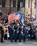 Protector de color de los E.E.U.U. en el desfile Foto de archivo libre de regalías