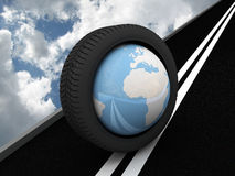Protector with planet Earth on the asphalt. 3D Royalty Free Stock Photography