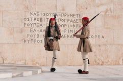 Protector que cambia en Atenas Foto de archivo libre de regalías