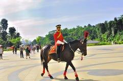 Protector real en guardar de caballo el palacio Imágenes de archivo libres de regalías