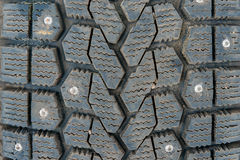 Protector of winter tires with spikes Stock Photo