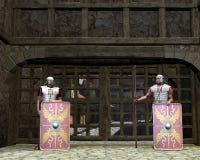 Protectores romanos de la puerta del legionario Fotos de archivo libres de regalías