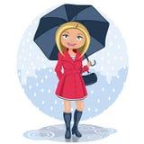 Mujer con el paraguas en la lluvia stock de ilustración