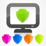 Protegendo sua segurança do botão do ícone do computador Foto de Stock Royalty Free