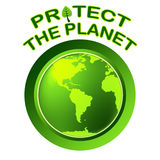 Protegga il mondo indica il pianeta universalmente e la globalizzazione Immagini Stock